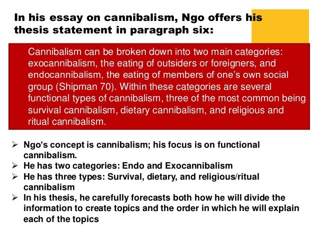 cannibalism essay Cannibalism, also known as anthropophagi, is defined as the act or practice of eating members of the same species the word anthropophagi comes from the arawakan language name for the carib indians of the west indies.