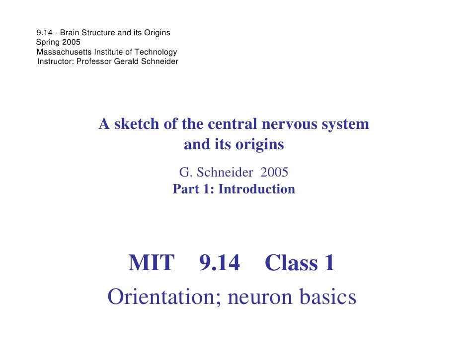 9.14 - Brain Structure and its Origins Spring 2005 Massachusetts Institute of Technology Instructor: Professor Gerald Schn...
