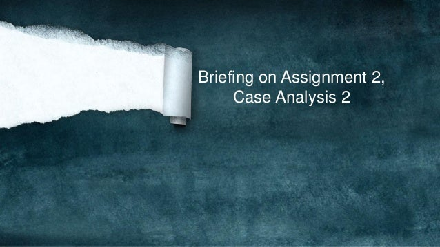 Briefing on Assignment 2, Case Analysis 2