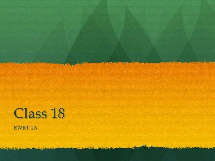 Class 18EWRT 1A