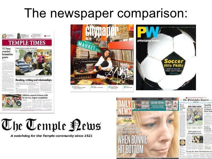 The newspaper comparison: