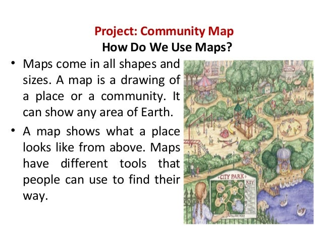 Project: Community MapHow Do We Use Maps?• Maps come in all shapes andsizes. A map is a drawing ofa place or a community. ...