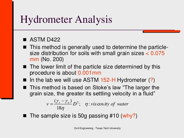 particle size analysis using hydrometer The hydrometer method of estimating particle size analysis (sand, silt and clay content) is based on the dispersion of soil aggregates using a sodium hexametaphosphate solution and subsequent measurement based on changes in suspension density.