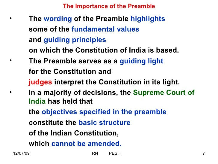 importance of preamble of indian constitution