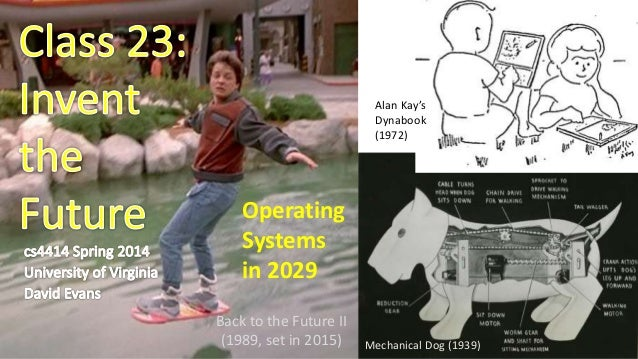 Back to the Future II (1989, set in 2015) Alan Kay's Dynabook (1972) Mechanical Dog (1939) Operating Systems in 2029