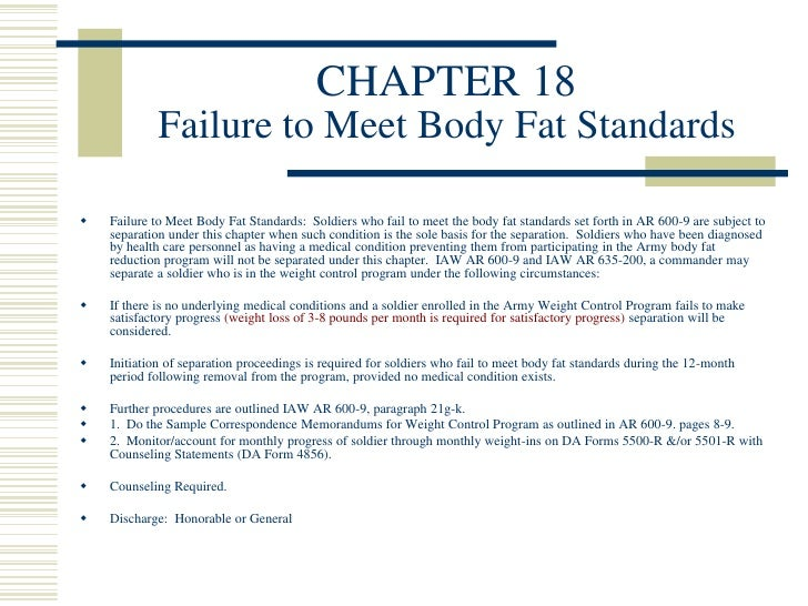 failure to meet weight control standards