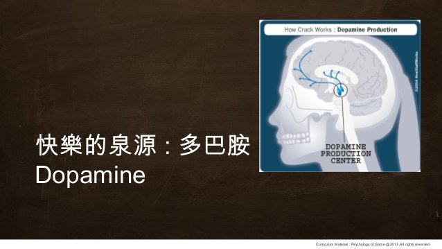 Curriculum Material : Psychology of Game @2013 ,All rights reserved 快樂的泉源 : 多巴胺 Dopamine