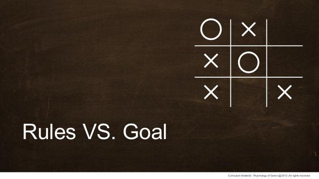 Curriculum Material : Psychology of Game @2013 ,All rights reserved Rules VS. Goal