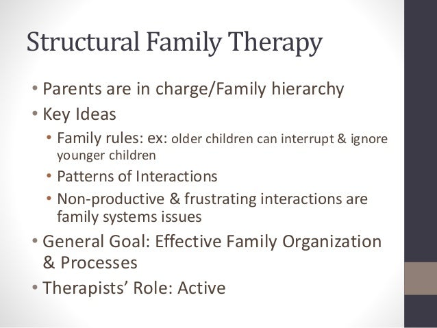 transgenerational and structural family therapy an Overviews theoretical concepts and clinical interventions in structural family therapy and illustrates both through an analysis of a 1st interview with an anorexic 16-yr-old and her parents.