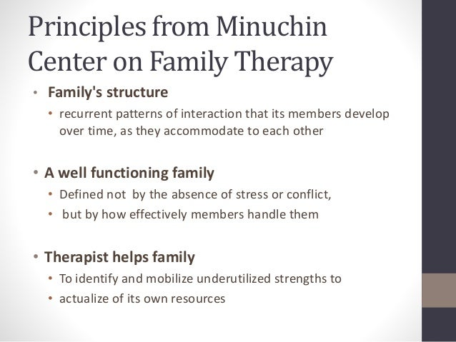 exploration of structural family therapy In summary structural family therapy is the leading and most widely used model in family therapy and it places emphasis on the family structure as to how the structure of the family relates to families being dysfunctional.