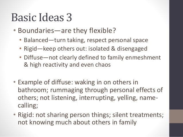 Basic Ideas 3  • Boundaries—are they flexible?  • Balanced—turn taking, respect personal space  • Rigid—keep others out: i...
