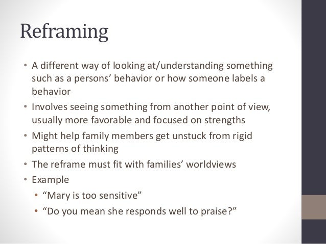 Reframing  • A different way of looking at/understanding something  such as a persons' behavior or how someone labels a  b...