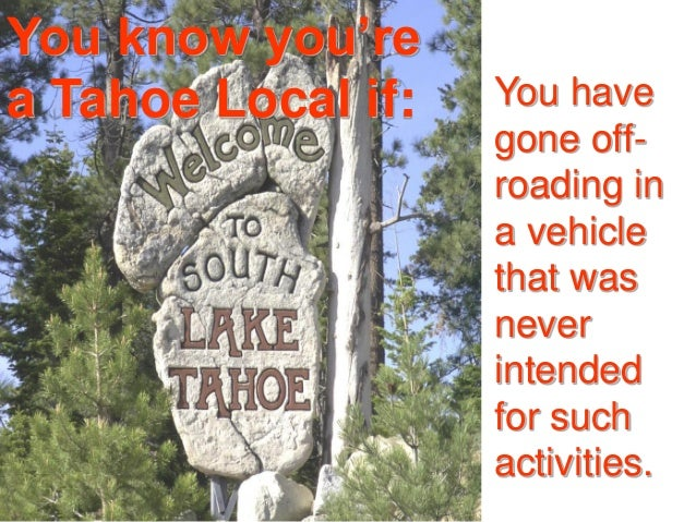 You know you're a Tahoe Local if: You have gone off- roading in a vehicle that was never intended for such activities.