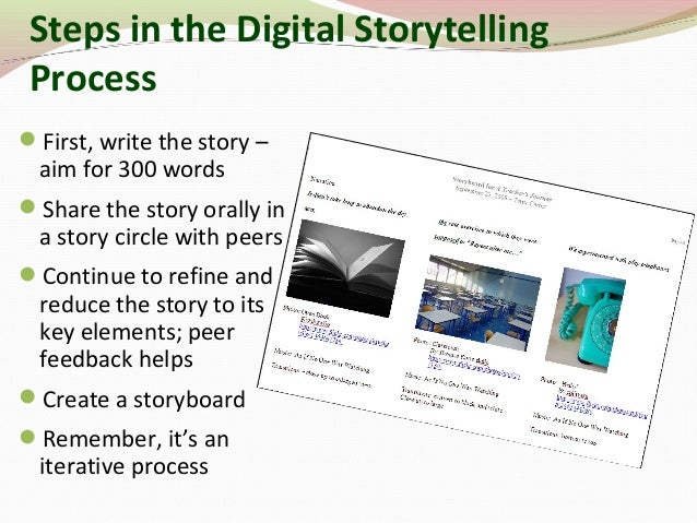 Steps in the Digital Storytelling Process First, write the story – aim for 300 words Share the story orally in a story c...