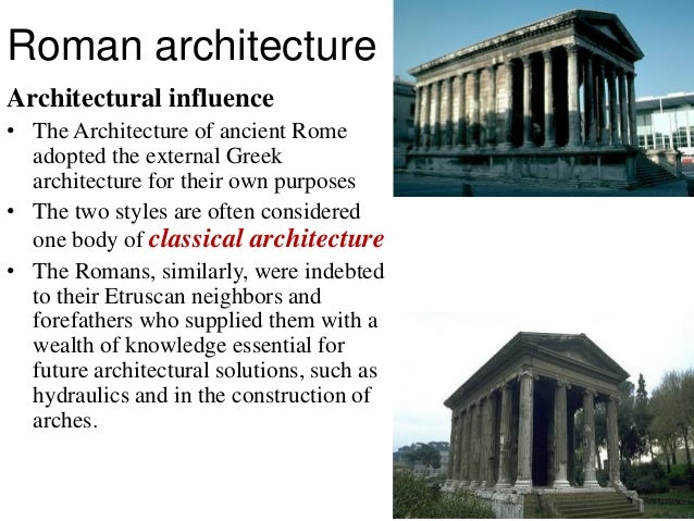 greek vs roman architecture essays Classical architecture usually denotes architecture which is more or less  consciously derived from the principles of greek and roman architecture of  classical antiquity, or  gromort georges (author), richard sammons ( introductory essay.