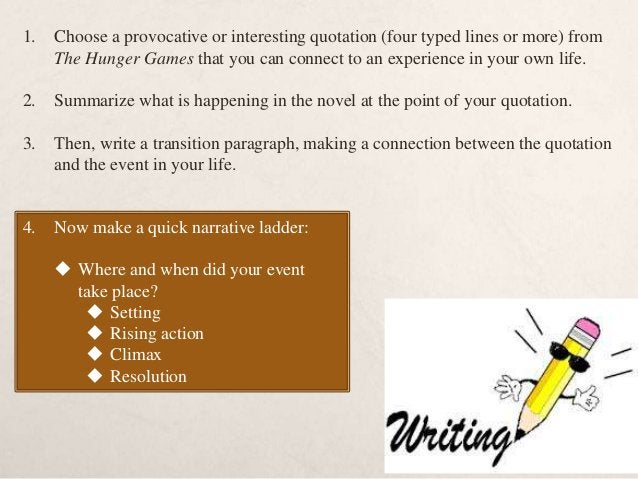 HOMEWORK  Read: HG through chapter 9.  Post #5: finish and post your in-class writing 1. Beginning with a quotation/tran...