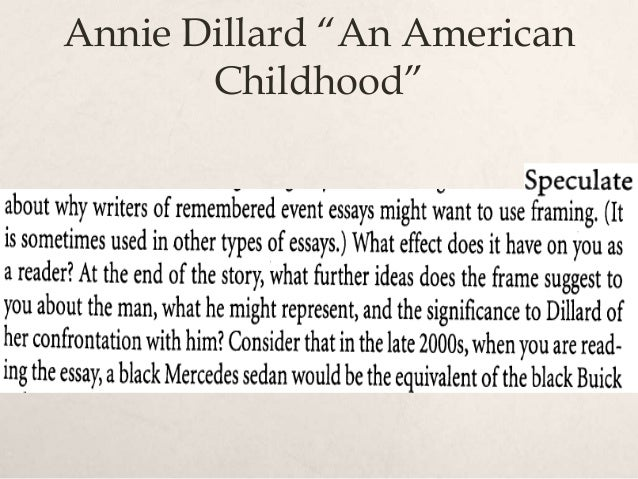 critical analysis of dillards an american childhood essay