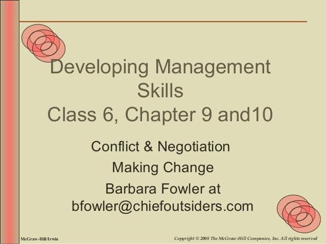 Developing Management                      Skills            Class 6, Chapter 9 and10                       Conflict & Neg...