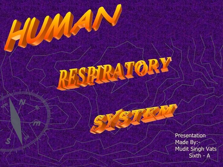 RESPIRATORY SYSTEM HUMAN Presentation Made By:-  Mudit Singh Vats  Sixth - A