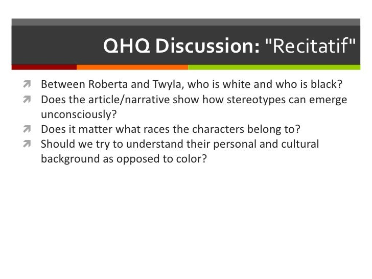 recitatif racial stereotyping The relationship between the isms racism, sexism, classism, ableism,  racial groups, to discrimination in employment, to violent and aggressive acts.