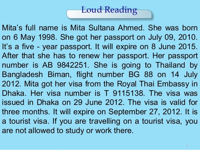 Loud Reading 6 Mita's full name is Mita Sultana Ahmed. She was born on 6 May 1998. She got her passport on July 09, 2010. ...