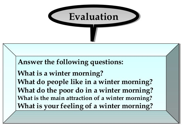 Winter morning paragraph papers
