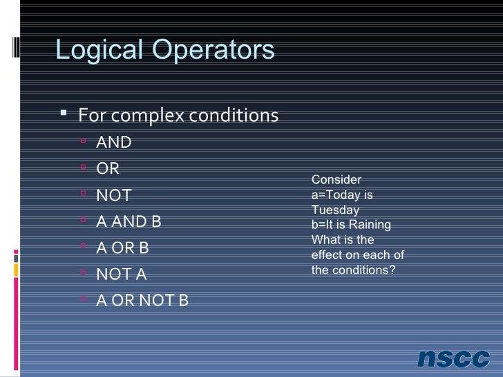 Exercise 8-1 <ul><li>Handout </li></ul><ul><li>Evaluate Conditional Operators </li></ul><ul><li>Excel Example </li></ul>