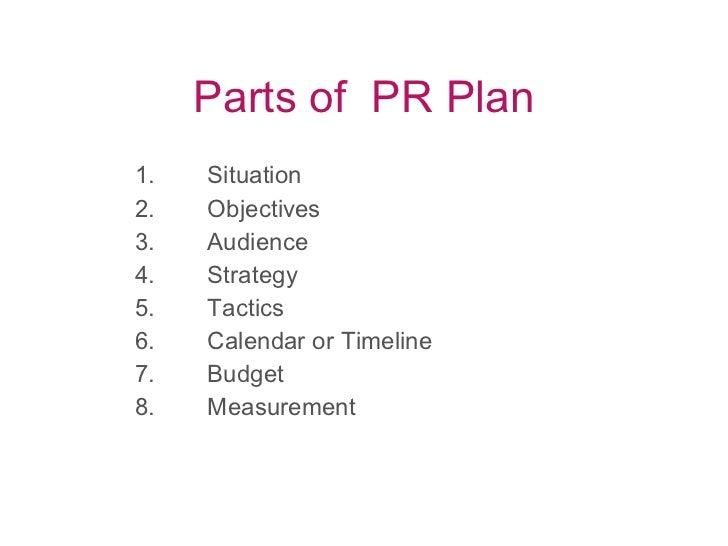 Parts of  PR Plan <ul><ul><ul><li>1. Situation </li></ul></ul></ul><ul><ul><ul><li>2. Objectives </li></ul></ul></ul><ul><...