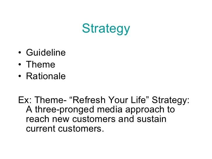 "Strategy <ul><li>Guideline </li></ul><ul><li>Theme </li></ul><ul><li>Rationale </li></ul><ul><li>Ex: Theme- ""Refresh Your ..."