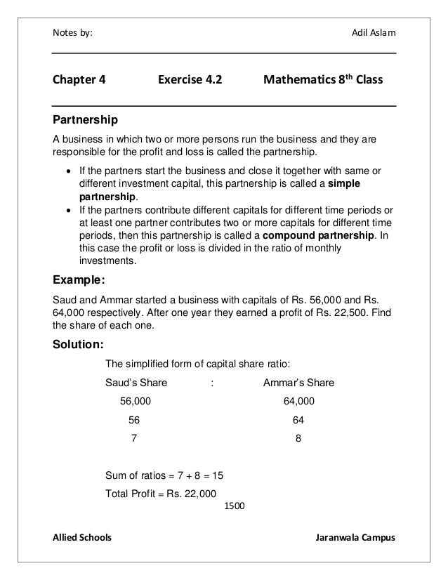 Mathematics Class 8th Exercise 4 2 Solution