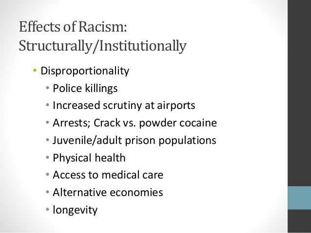 impact of racism and oppression in What is racism, really  publicized example of this is a 1940 study devised by dr kenneth and mamie to pinpoint the negative psychological effects of segregation.