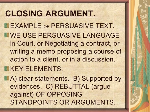 Class Actions Closing Argument And Memos