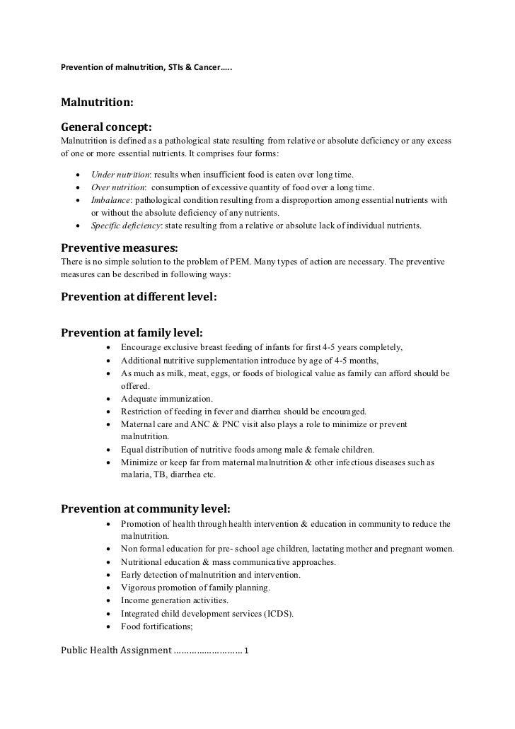 Prevention of malnutrition, STIs  Cancer PDF