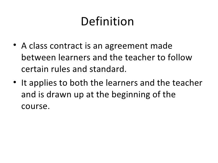 Class contract – Teacher Agreement Contract