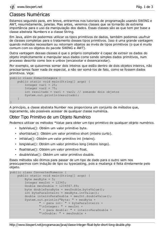 www.tiexpert.net                                                                      Pág. 1 de 3Classes NuméricasEstamos ...