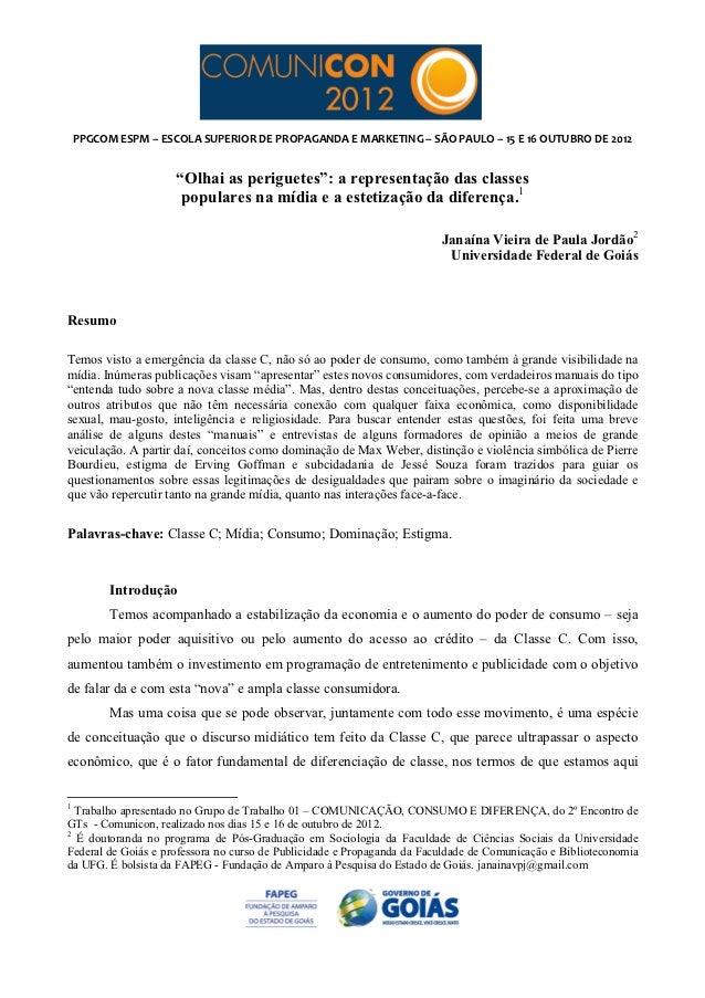 PPGCOM ESPM – ESCOLA SUPERIOR DE PROPAGANDA E MARKETING – SÃO PAULO – 15 E 16 O...