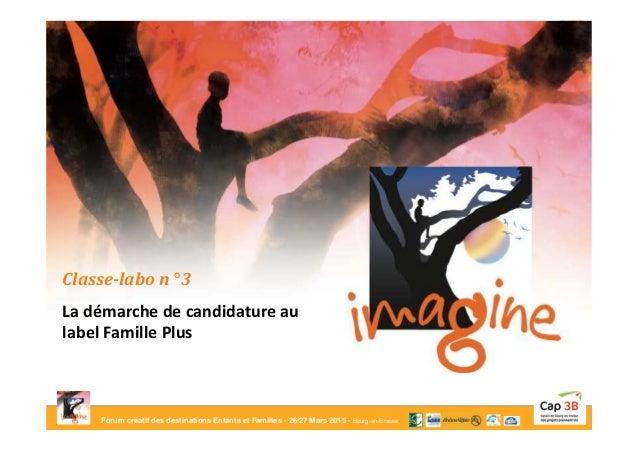 Forum créatif des destinations Enfants et Familles - 26/27 Mars 2015 - Bourg-en-Bresse Classe-labo n° 3 La démarche de can...