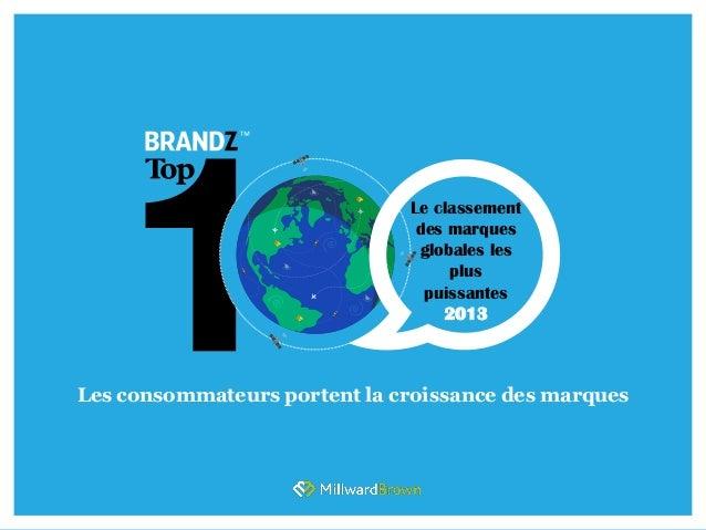 Le classementdes marquesglobales lespluspuissantes2013Les consommateurs portent la croissance des marques