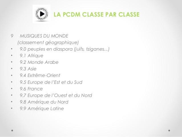 LA PCDM CLASSE PAR CLASSE 9 MUSIQUES DU MONDE (classement géographique) • 9.0 peuples en diaspora (juifs, tziganes...) • 9...