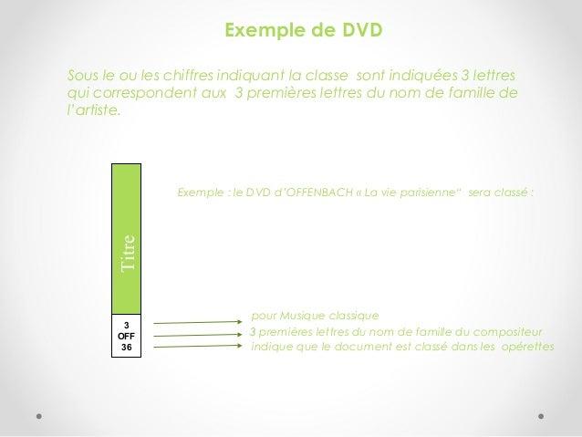 Exemple de DVD Sous le ou les chiffres indiquant la classe sont indiquées 3 lettres qui correspondent aux 3 premières lett...