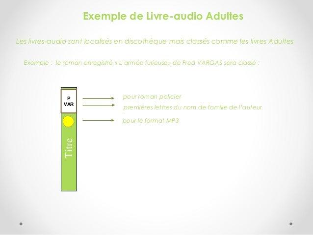 Exemple de Livre-audio Adultes Les livres-audio sont localisés en discothèque mais classés comme les livres Adultes Exempl...