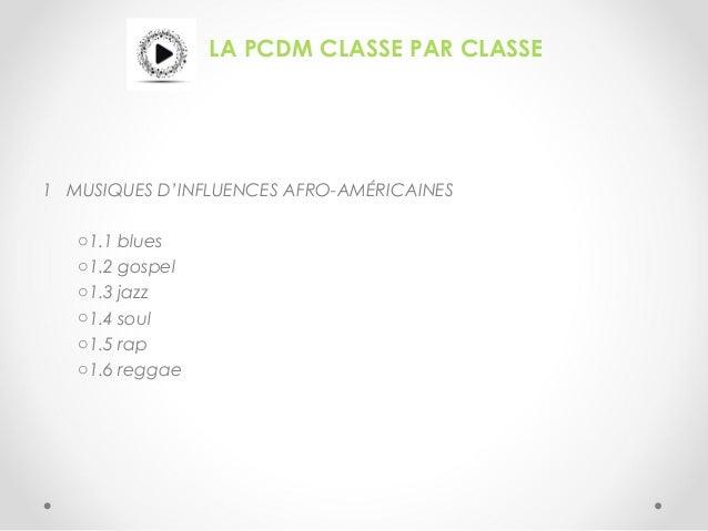 LA PCDM CLASSE PAR CLASSE 1 MUSIQUES D'INFLUENCES AFRO-AMÉRICAINES o1.1 blues o1.2 gospel o1.3 jazz o1.4 soul o1.5 rap o1....