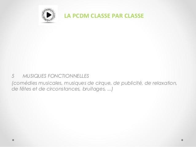 LA PCDM CLASSE PAR CLASSE 5 MUSIQUES FONCTIONNELLES (comédies musicales, musiques de cirque, de publicité, de relaxation, ...