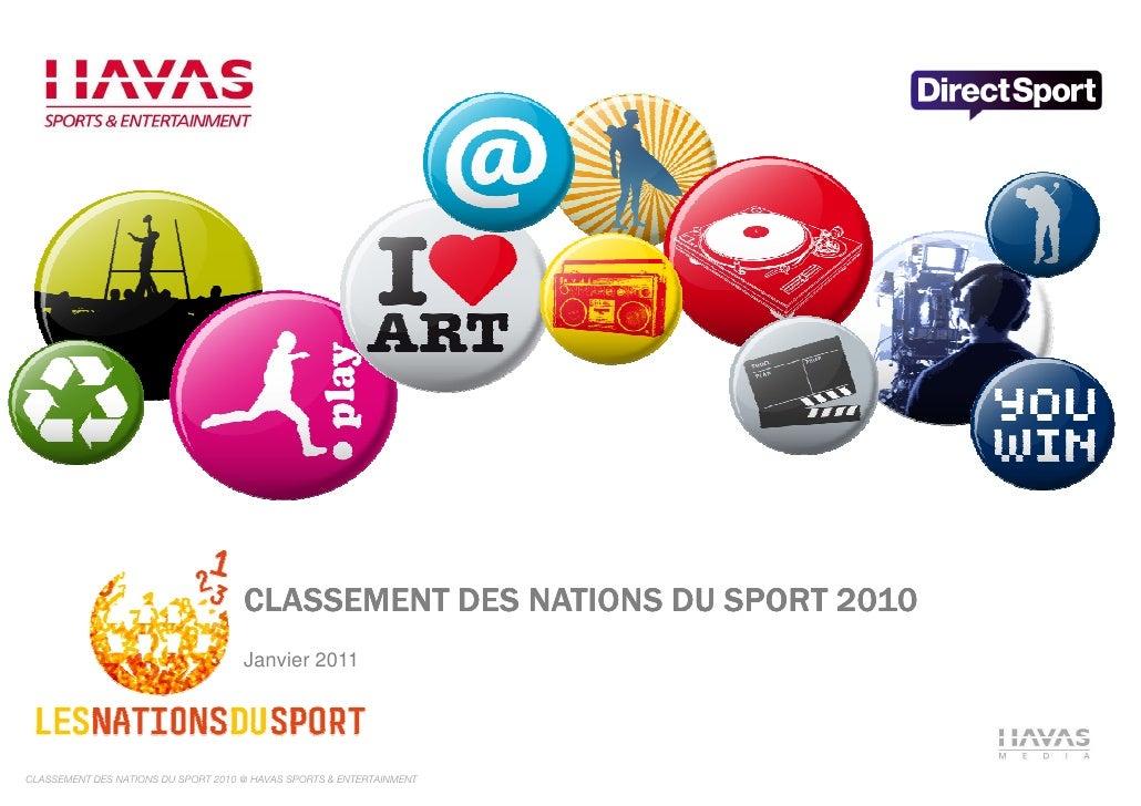 CLASSEMENT DES NATIONS DU SPORT 2010                                     Janvier 2011CLASSEMENT DES NATIONS DU SPORT 2010 ...