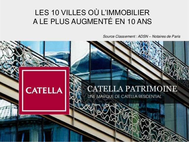 Source Classement : ADSN – Notaires de Paris LES 10 VILLES OÙ L'IMMOBILIER A LE PLUS AUGMENTÉ EN 10 ANS