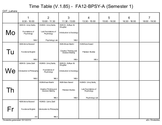 Time Table (V.1.85) - FA12-BPSY-A (Semester 1)CIIT_Lahore                           1                            2        ...