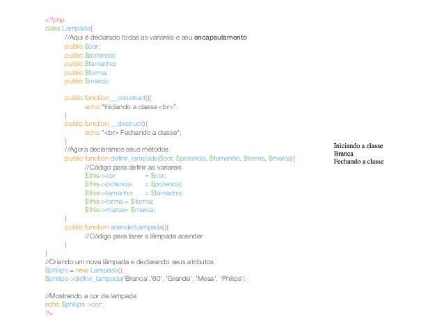 <?php  class Lampada{  //Aqui é declarado todas as variareis e seu encapsulamento  public $cor;  public $potencia;  public...