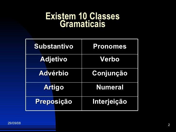 Existem 10 Classes Gramaticais Interjeição Preposição Numeral Artigo Conjunção Advérbio Verbo Adjetivo Pronomes Substantivo