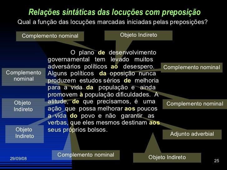 Relações sintáticas das locuções com preposição Objeto Indireto O  plano  de   desenvolvimento governamental  tem  levado ...