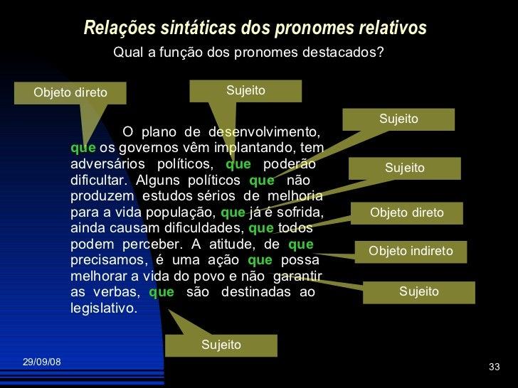 Relações sintáticas dos pronomes relativos Qual a função dos pronomes destacados? O  plano  de  desenvolvimento,  que  os ...